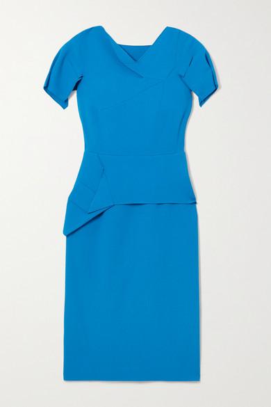 Roland Mouret Vernon Blue Wool-crepe Midi Dress In Azure