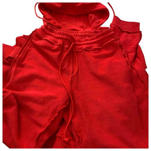 Danielle Guizio Red Cotton Trousers