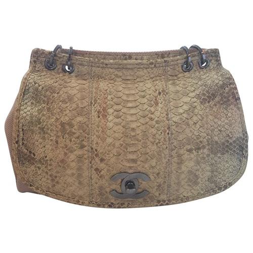 Chanel Beige Python Handbag
