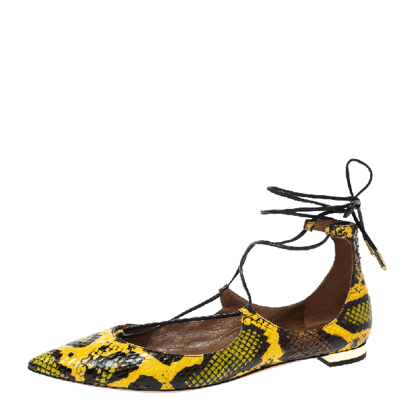 Aquazzura Multicolor Python Embossed Leather Pointed Toe Ankle Wrap Flats Size 37.5