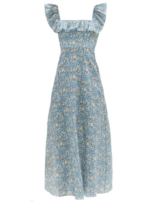Zimmermann Carnaby Ruffle-neck Floral-print Linen Midi Dress In Light Blue