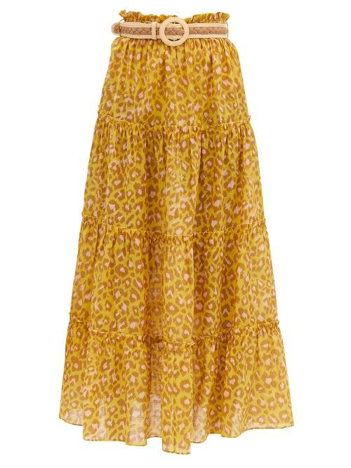 Zimmermann Belted Leopard-print Cotton Maxi Skirt In Yellow Print
