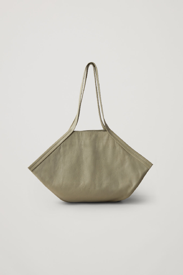 Cos Leather Square Shopper In Green