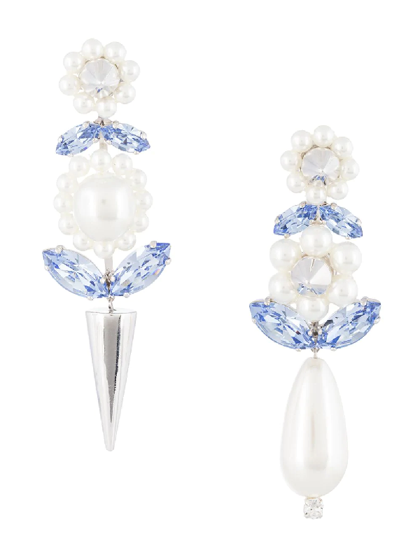 Simone Rocha Dropped Floral-inspired Earrings In Silver