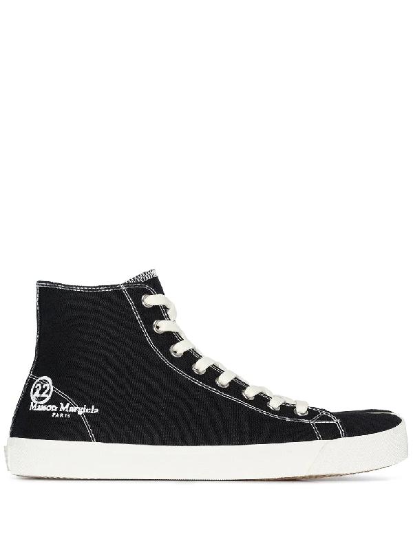Maison Margiela 黑色 Tabi 帆布高帮运动鞋 In Black