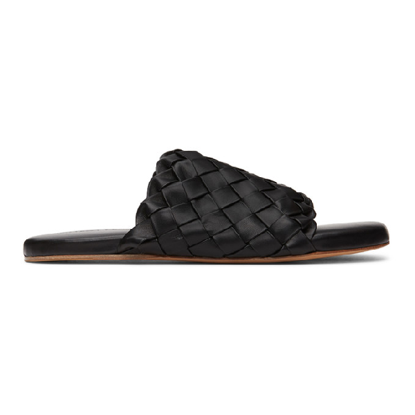 Bottega Veneta Foot Bed' Intercciato Leather Sandals In 1000 Black
