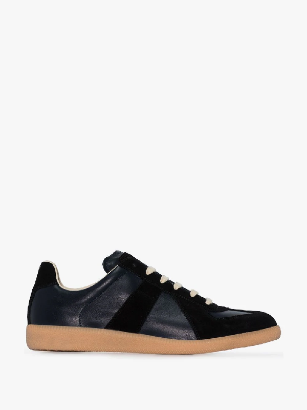 Maison Margiela Replica Black Leather And Suede Sneakers In Blue ,black