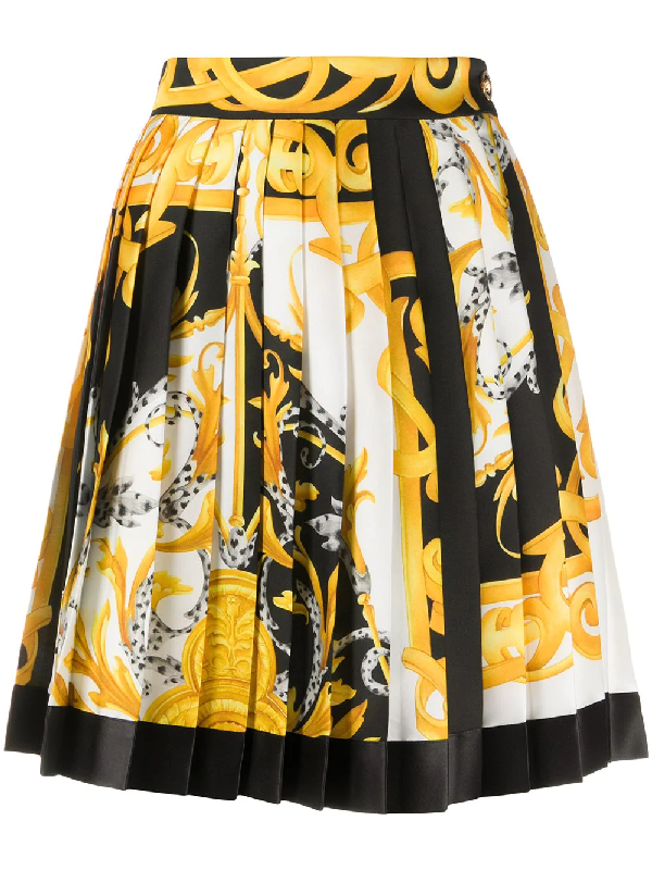 Versace Pleated Skirt With Baroque Acanthus Print In White