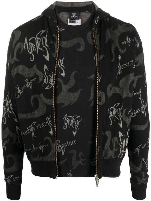 Versace 1990s Signature Print Zipped Hood And T-shirt Set In Black