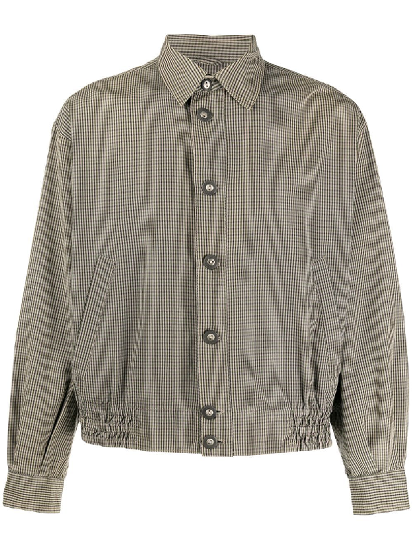 Saint Laurent 1990s Checked Shirt Jacket In Brown