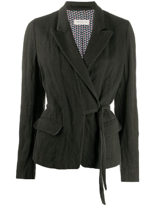 Dries Van Noten 1990s Wrap-front Jacket In Grey