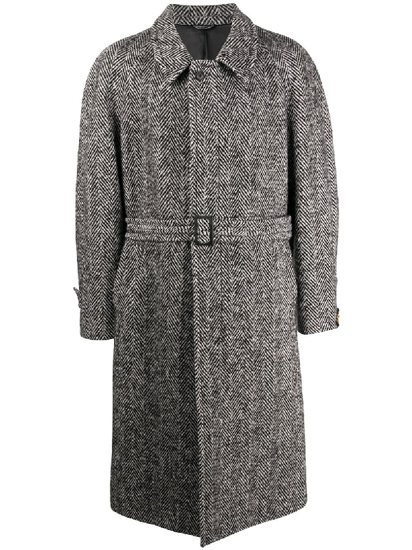 A.n.g.e.l.o. Vintage Cult 1990s Belted Herringbone Coat In Grey