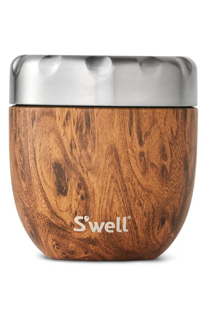 S'well Teakwood Eats(tm) Insulated Stainless Steel Bowl & Lid
