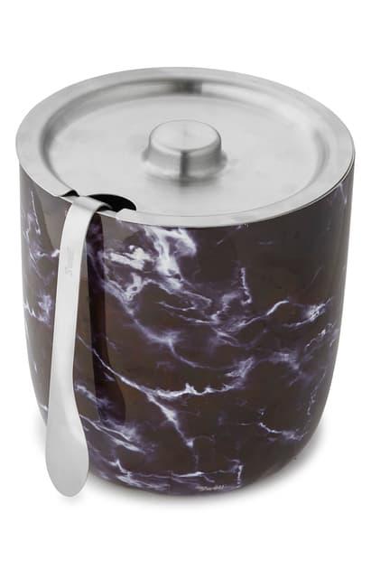S'well Black Marble Ice Bucket & Tongs Set