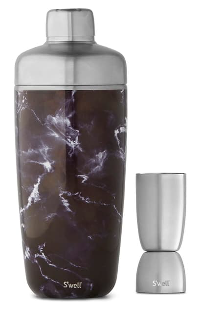 S'well Black Marble 25-ounce Cocktail Shaker Set
