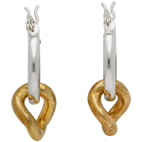 Laura Lombardi Silver And Gold Onda Earrings In Silverbrass