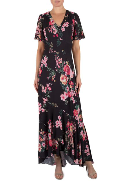 Julia Jordan Floral Short Sleeve Maxi Dress In Black Multi