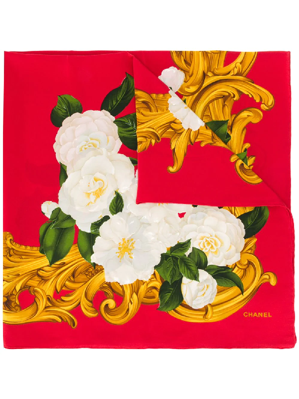 Chanel Rose Print Scarf In Red
