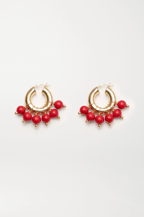 Eliou The Red Kavala Gold-plated Coral Earrings