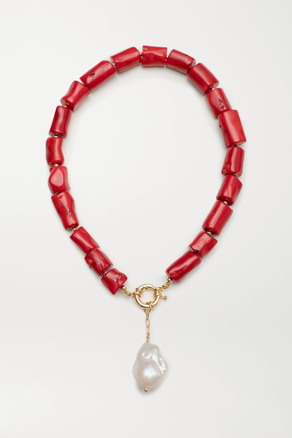 Eliou Calais Gold-plated, Coral And Pearl Necklace In Red