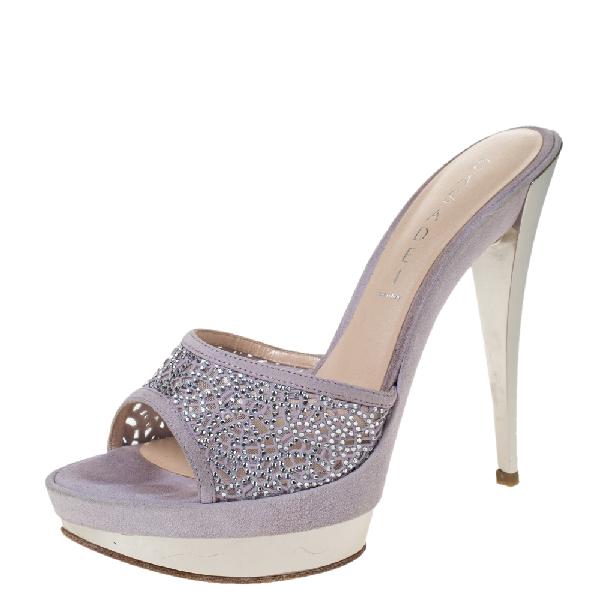 Casadei Lilac Suede Crystal Embellished Platform Open Toe Platform Slide Sandals Size 39 In Purple