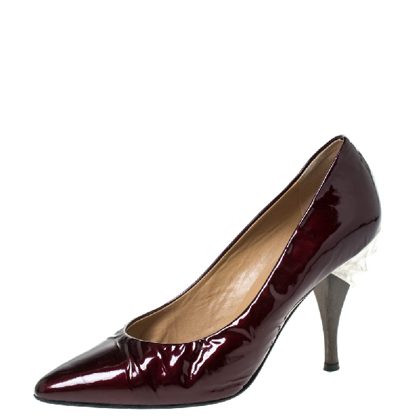 Casadei Burgundy Patent Leather Pointed Toe Embellished Heel Pumps Size 38
