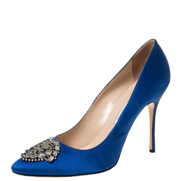 Manolo Blahnik Blue Satin Okkato Crystal Embellished Pumps Size 39.5