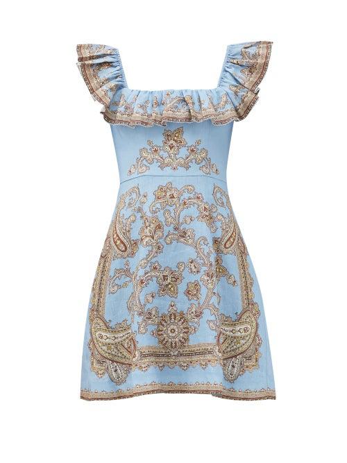 Zimmermann 'fiesta' Ruffle Square Neck Paisley Print Mini Dress In Blue