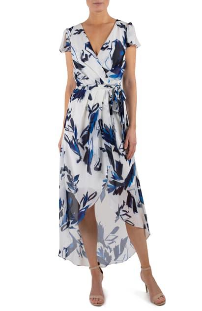 Julia Jordan Flutter Sleeve Faux Wrap Dress In Ivory Multi