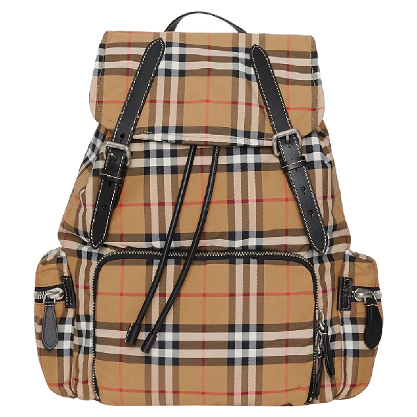 Burberry Antique Yellow Vintage Check Nylon And Leather Large Backpack