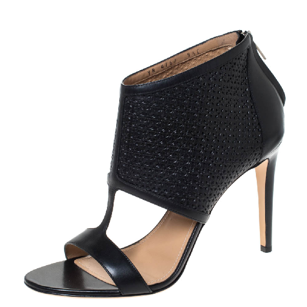 Salvatore Ferragamo Black Cut Out Leather Pacella Open-toe Booties Size 40