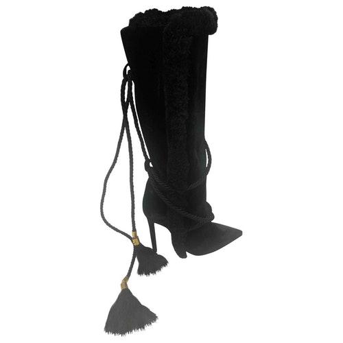 Versace Black Suede Boots