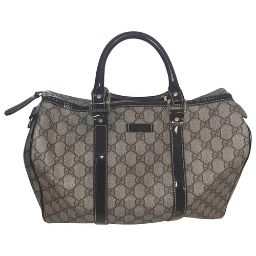 Gucci Boston Brown Cotton Handbag
