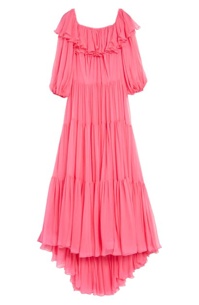 Valentino Ruffle Neck Tiered Off The Shoulder Silk Chiffon Dress In Deep Pink