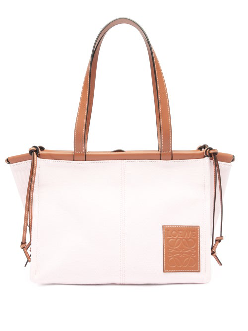 Loewe Cushion Small Canvas And Leather Tote Bag In Beige