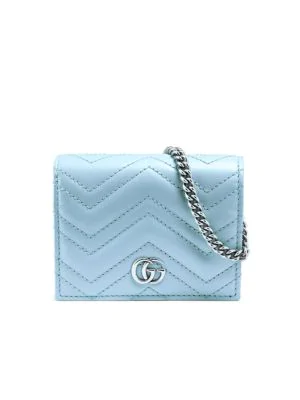Gucci Gg Marmont Mini Wallet Shoulder Bag In Blue
