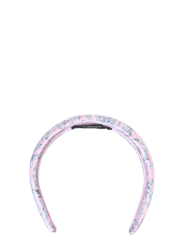 Versace Baroque Printed Headband In Pink