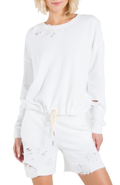 N:philanthropy Olympia Distressed Sweatshirt In White