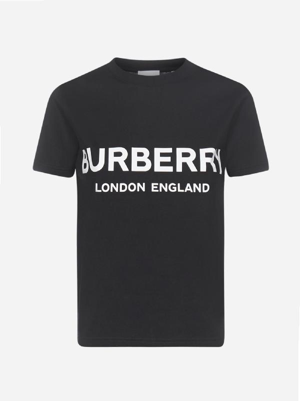 Burberry T-shirt In Cotone Con Logo In Black