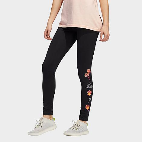 Adidas Originals Adidas Women's Floral Logo Leggings In Black