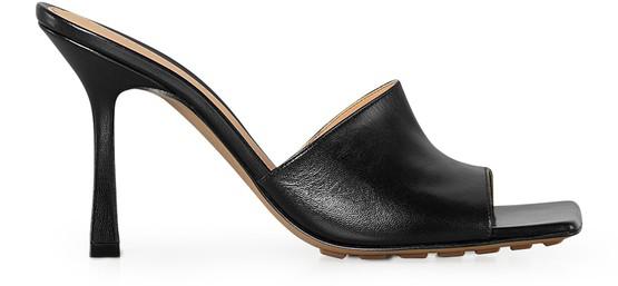 Bottega Veneta Rubber Sole Leather Stretch Mule Sandal Black
