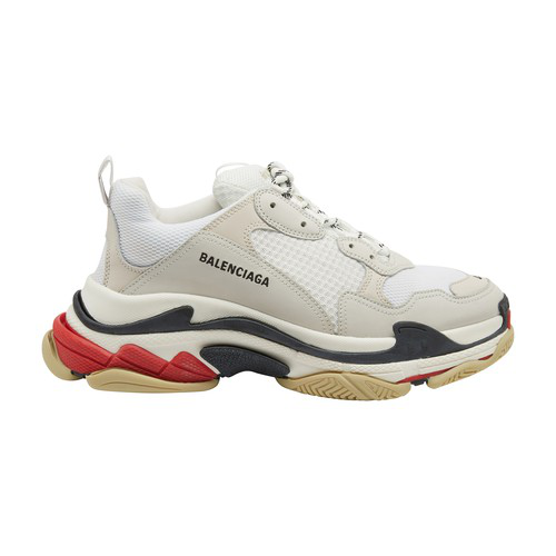 Balenciaga White Men's Red And Black Detail Triple S Sneakers In White/red/black