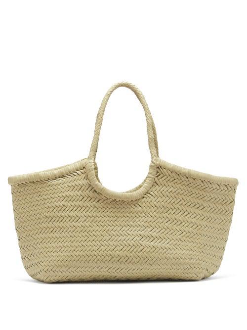 Dragon Diffusion Nantucket Woven-leather Basket Bag In Cream