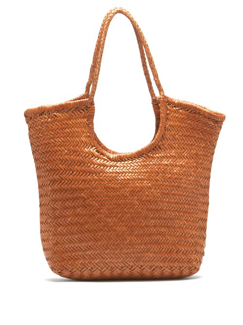 Dragon Diffusion Triple Jump Woven-leather Basket Bag In Tan