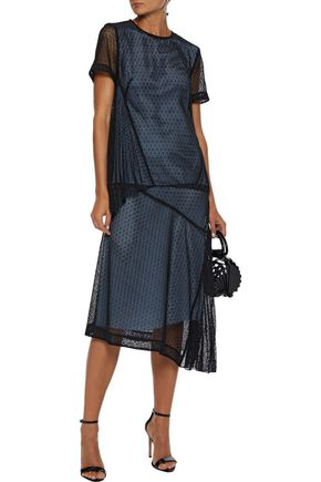 Victoria Beckham Asymmetric Layered Lace And Silk-satin Top In Black