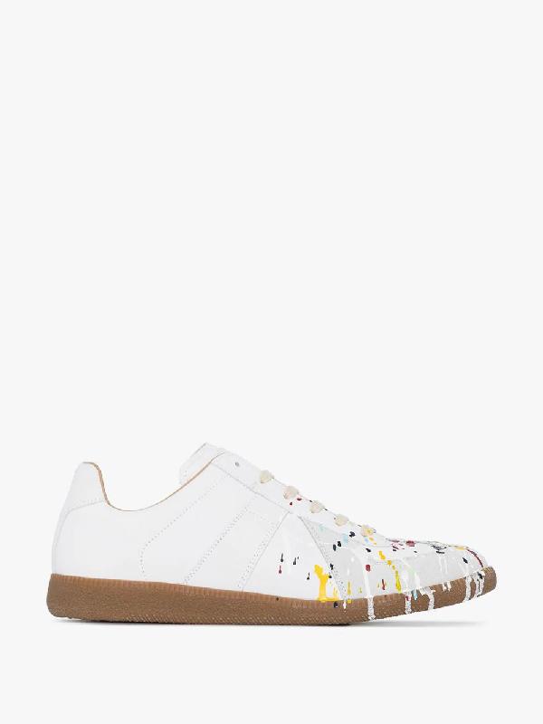 Maison Margiela Replica Paint Splatter-effect Low-top Sneakers In White