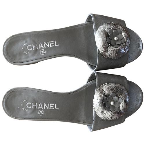 Chanel Grey Python Sandals
