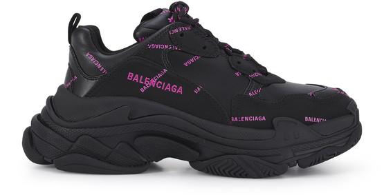 Balenciaga Triple S Black/pink Leather Sneakers