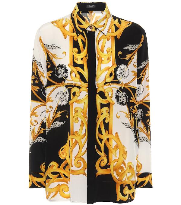 Versace Barocco Acanthus Print CrÊpe De Chine Shirt In White