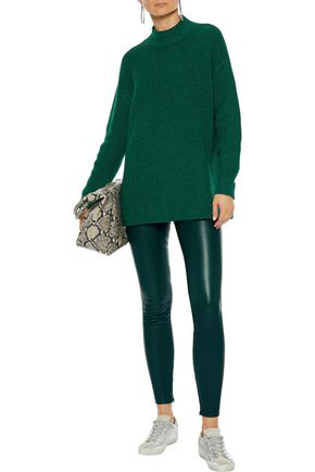 Vince Stretch-leather Leggings In Emerald